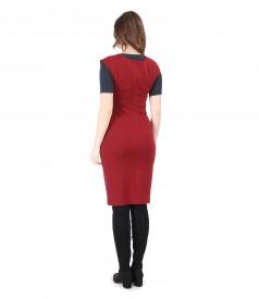 Tinuta eleganta cu rochie si tricou din jerse cu lana