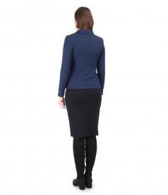 Tinuta office cu rochie din jerse elastic gros si sacou