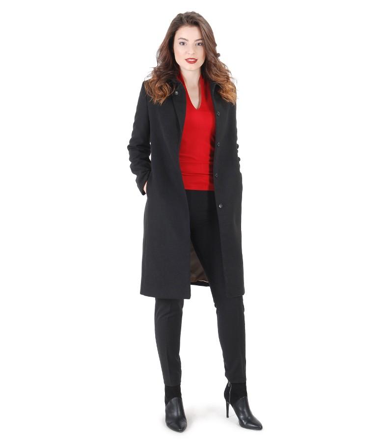 Tinuta eleganta cu jacheta cu rever si pantaloni pana