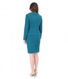 Costum office dama cu sacou si fusta din lana si alpaca