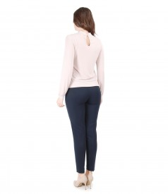 Tinuta eleganta cu bluza cu aplicatie de cristale Swarovski si pantaloni pana
