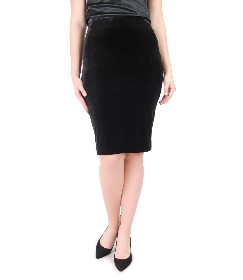 Fusta eleganta din catifea elastica neagra