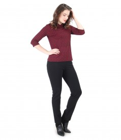 Tinuta eleganta cu bluza din jerse elastic si pantaloni pana