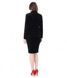 Costum de ocazie dama cu sacou si fusta din catifea neagra