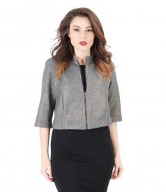 Jacheta din brocart elastic cu motive geometrice