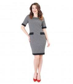 Rochie din jerse elastic gros cu garnitura contrast