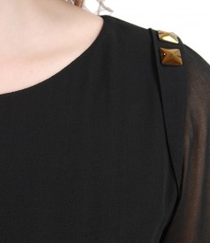 Rochie de seara din voal si brocart cu aplicatie de cristale pe umar