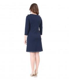Rochie din jerse elastic gros cu garnitura la terminatie