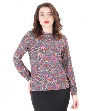 Bluza din jerse elastic imprimat cu flori