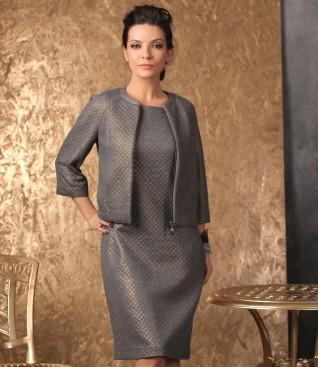 Tinuta de ocazie cu rochie si sacou din brocart cu motive geometrice