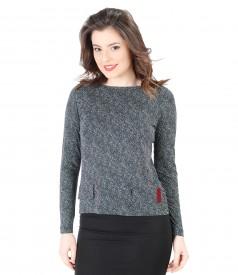Bluza eleganta din jerse imprimat cu picouri
