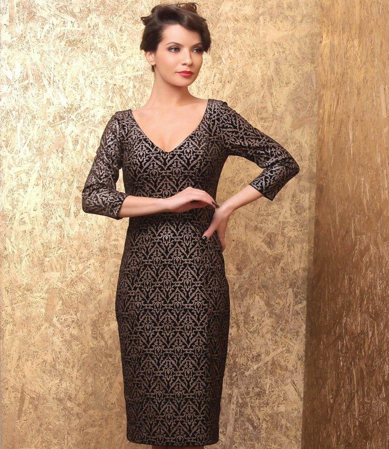 Rochie midi din catifea elastica imprimata cu motive aurii