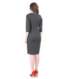 Rochie din jerse elastic gros cu garnitura