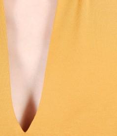 Bluza din jerse uni cu decolteu adanc