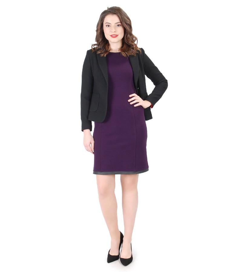 Tinuta eleganta cu rochie din jerse elastic gros si sacou office