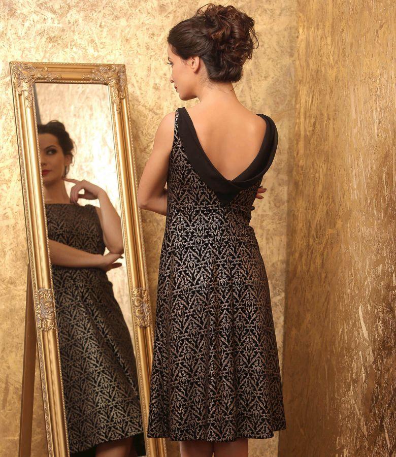 Rochie de seara din catifea elastica imprimata cu motive aurii