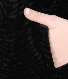 Sacou din blana ecologica cu structura tip astrahan