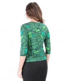 Tricou elegant din jerse elastic cu imprimeu geometric