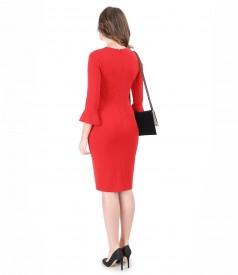 Tinuta de ocazie cu rochie din jerse elastic gros si geanta plic din catifea
