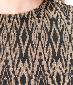 Rochie din jerse elastic gros cu motive aurii