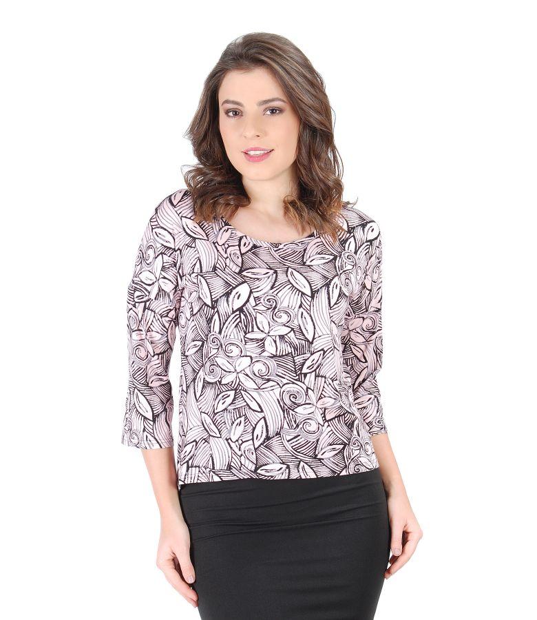 Bluza eleganta din jerse elastic cu imprimeu floral