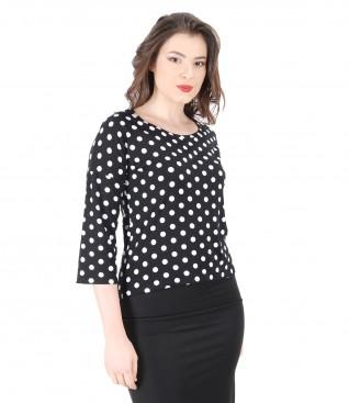 Bluza eleganta din jerse elastic cu imprimeu cu buline