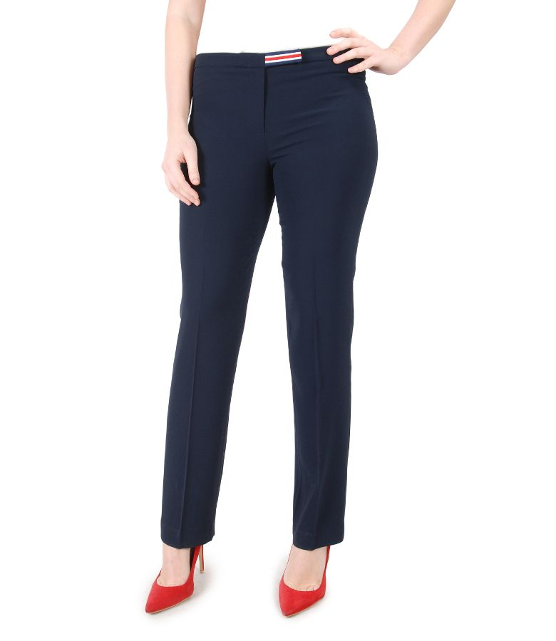Pantaloni eleganti cu elastic multi-color in talie