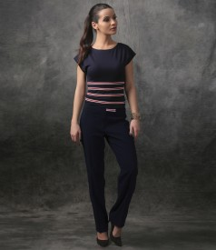 Bluza eleganta din jerse cu elastice in talie si pantaloni
