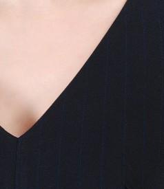 Rochie eleganta din stofa cu dungi