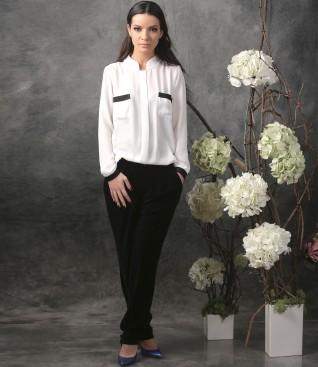 Tinuta office cu bluza cu maneci lungi si pantaloni pana