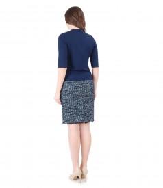 Bluza eleganta cu funda pe decolteu si fusta din bucle multi-color