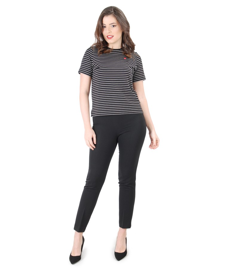 Bluza din jerse elastic cu dungi si pantaloni pana