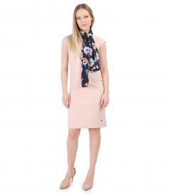 Rochie din stofa elastica si esarfa cu imprimeu floral