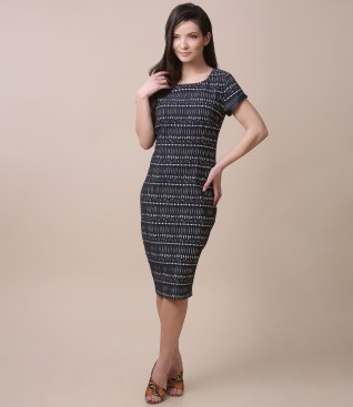 Rochie eleganta din bumbac elastic gofrat