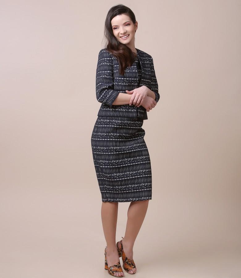 Tinuta eleganta cu rochie si sacou din bumbac elastic gofrat