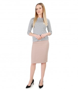 Bluza din jerse elastic imprimat cu fusta conica