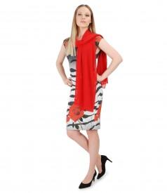 Rochie eleganta cu esarfa din voal uni