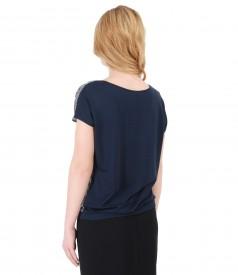Bluza din jerse elastic cu fata din vascoza imprimata