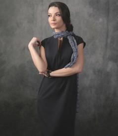 Rochie eleganta cu esarfa din voal imprimat cu flori