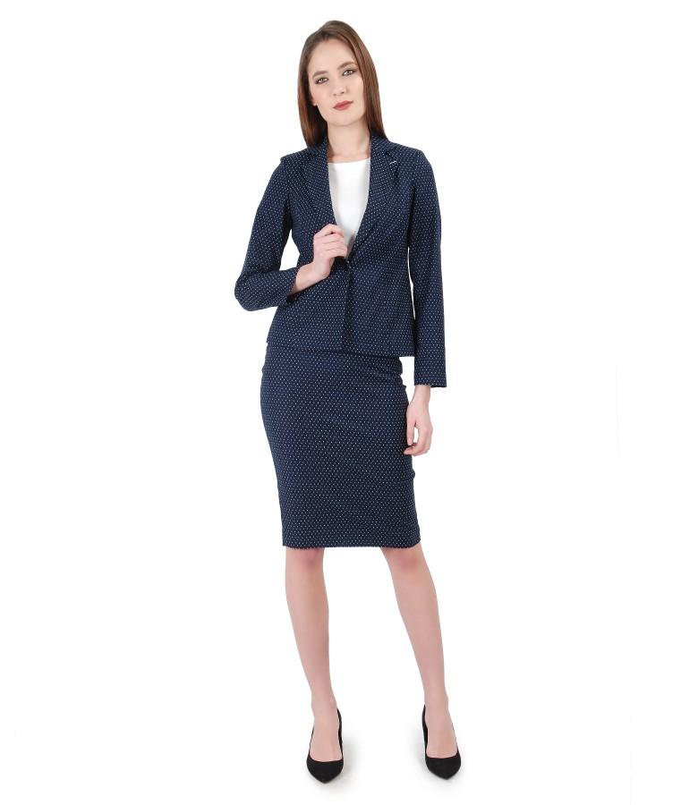 Costum office dama cu sacou si fusta cu picouri