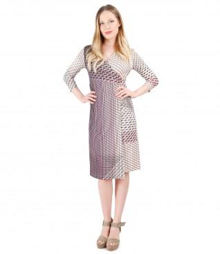 Rochie eleganta jerse imprimat
