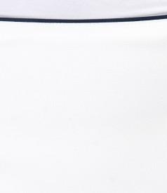 Fusta eleganta cu garnitura bleumarin
