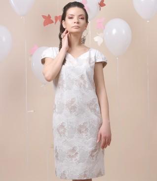 Rochie din brocart de bumbac cu garnitura de perle Swarovski