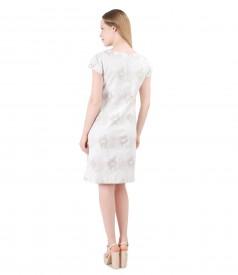 Rochie din brocart de bumbac cu garnitura de perle