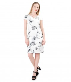 Rochie din bumbac texturat cu imprimeu floral