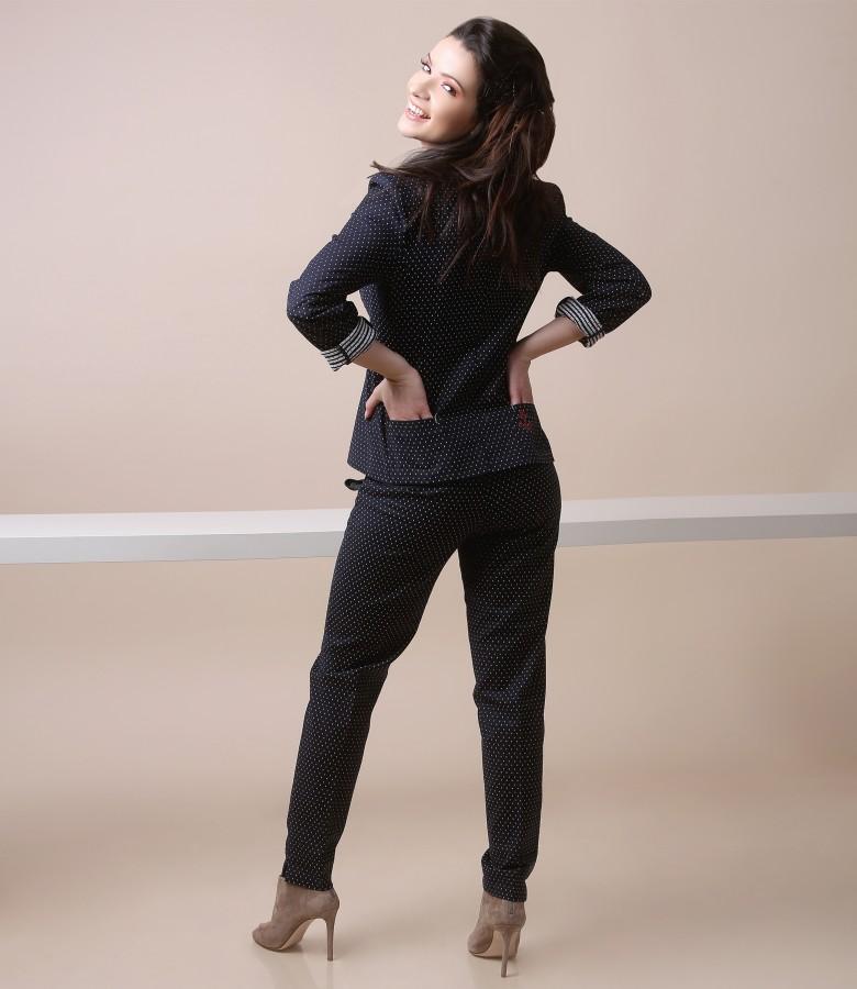 Costum office dama cu sacou si pantaloni cu picouri