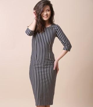 Rochie midi din jerse elastic imprimat cu dungi