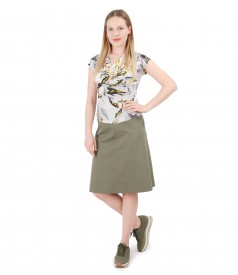 Bluza din jerse cu falduri si fusta evazata din bumbac texturat
