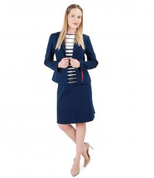 Costum office dama cu sacou si fusta din bumbac texturat