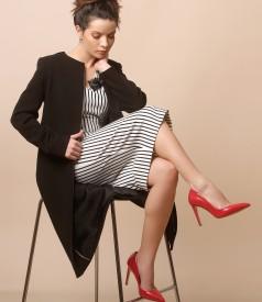 Rochie midi din jerse elastic cu dungi si jacheta cu decolteu rotund